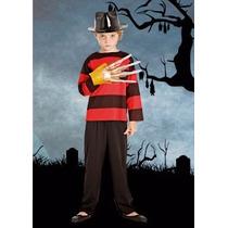 Disfraz Freddy Krugger Niños Con Gorro Y Garra Halloween