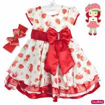 Vestido Moranguinho Festa Infantil Glamour Com Faixa Morango