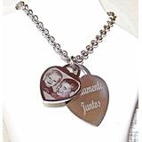 Foto Medalla Acero Quirúrgico Personalizada Corazón + Cadena