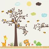 Adesivo Infantil Zoo Safari Arvore Animais Coruja Girafa 95