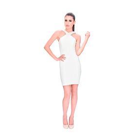 Karla Tagle Vestido De Fiesta Cuello Cruzado Oferta!!!