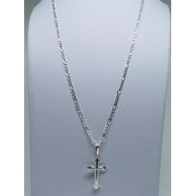 Cordão Corrente Masculina Maciça + Cruz Crucifixo Prata 925