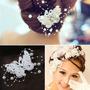 Lindo Enfeite Grampo Borboleta Branca Perolas Cristal Noiva