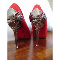 Pronta Entrega! Sapato Camurça Vermelho, Salto Metal Tam 35