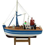Barco Pesqueiro Stratus De Madeira Com 15x15x5cm