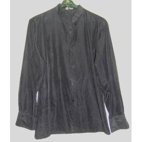 Camisa Negra M/largas Marca París Cuello Mao T Medium Mujer