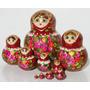 Las Munecas Rusas Color Rojoflores Matrioska Set 10pc