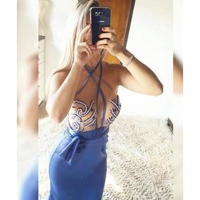 Vestido Festa Bordado Pedraria Madrinha Formatura Lindo Azul
