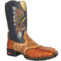 Bota Country Texana Silverado 100% Couro Jacaré E Nobuck