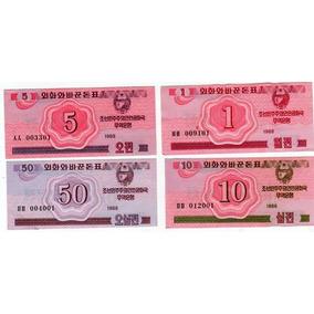 8 Billetes De Corea Del Norte Año 1988 Catalogo 65 Dolares!