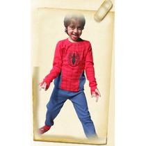Pijama Para Niños Con Luces Led. Hombre Araña 100% Algodon