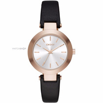 Reloj Dkny Leather Black Dama Ny2458 Rose Tone | Watchito