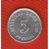 Moneda Alemana 5 Pfennig 1908