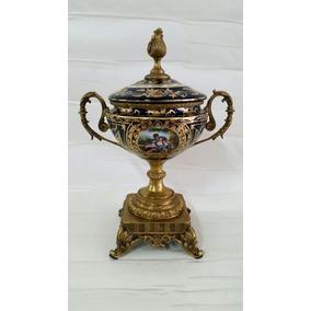 Potiche Em Porcelana Azul Cobalto C/ Ouro E Bronze Alt 35 Cm