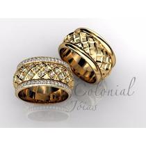 Par De Alianças Paradise Diamond Ouro 18k Diamantes