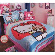 Edredon Con Borrega Hello Kitty Matrimonial Cojines Fundas