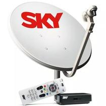 Kit Antena Sky Barato Parabólica Receptor Pré Pago Flex Sd