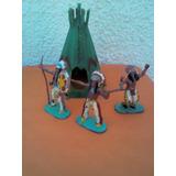 Lote X 3 Soldaditos Indios De Plastico Antiguos Carpa 01