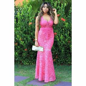 Vestido De Festa Pink Alta Costura - Guipir Madrinhas/mães