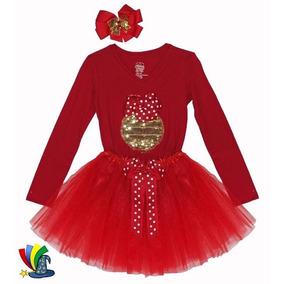 Tutu Niña Tutus Navidad Talla 7/8 Rojo C/dorado