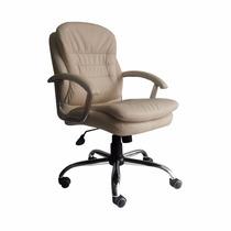 Cadeira Escritório Fofão Diretor Giratória Couro Eco Bege