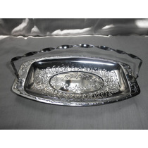Antigua Charola Frutero Metal Cromada Plateada Decoracion