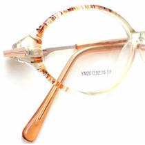 Armação P/óculos Grau Ym-2013 Transparente Detalhe Laranja