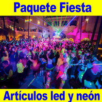 Paquete Fiesta Artículos Neón Y Luz Led Boda Xvaños Party Dj