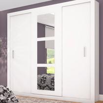 Guarda-roupas 3 Portas De Correr Com Espelho Mônaco Siena
