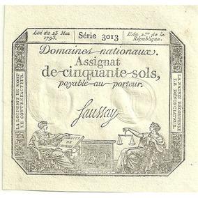 Billete Francia 50 Sols Año 1793 Revolucion Francesa Sin Uso