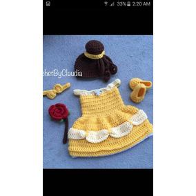 Vestido Gorro Y Zapatos De Princesa Bella Tejidos A Crochet