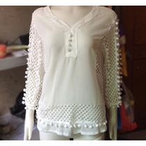 Blusa Branca Plus Size Chifon Com E Gripir Frete Grátis