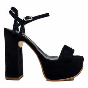 Natacha Zapato Mujer Sandalia Plataforma Gamuza Negra #1221