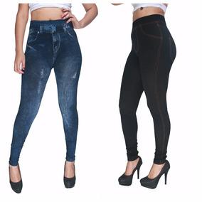 Kit 5 Calça Legging Com Estampa Jeans Rasgado Fitness