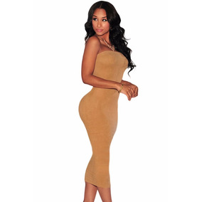 Moda Sexy Vestido Straple Midi Camel