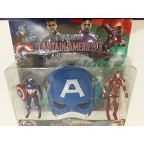 Máscara C/ 2 Bonecos Capitão América E Homem De Ferro Luz