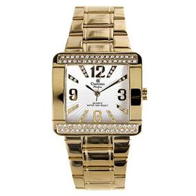 Relógio Feminino De Luxo Champion Quadrado Cn29105h Dourado