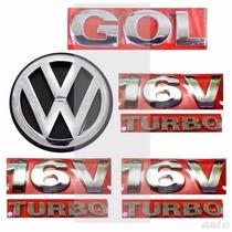Emblemas Gol 16v Turbo + Laterais + Vw Mala - G3 Geração 3