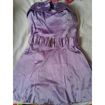 Vestido Strapless Corto De Raso Muy Lindo!