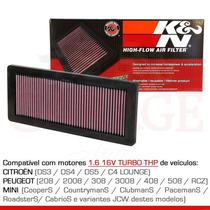 Filtro Ar Esportivo K&n Citroen Ds3 Ds4 Ds5 1.6 Thp 33-2936