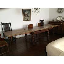Antiga Mesa De Jantar Manuelina Com 12 Cadeiras De Carvalho