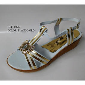 Elegante Sandalia Dama Blanco-oro Zapato Mujer Envío Gratis