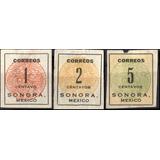 0431 Revolución Sonora #3 Diligencias 3 Sellos Mint L H 1914