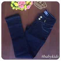 Calça Infantil Jeans Escuro Feminina Tamanho 10