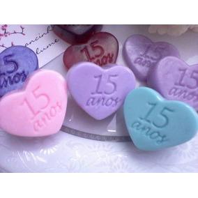 130 Mini Sabonetes Coração 15 Anos Lembrancinhas Lindo
