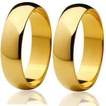 Par Aliança Aço Inox 5mm Lisa Banhada Ouro (promoção)