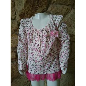 Camiseta Infantil Com Renda. Menina Outono/ Inverno 1,2,3