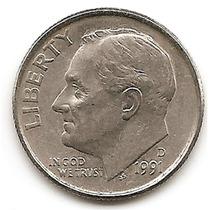 Moneda Estados Unidos One 1 Dime 10 Centavos Año 1991 D