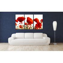 Bastidor Canvas Flores Amapolas Triptico 140x80 Cm+envio