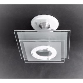 Lustre Plafon 2 Vidros Quadrados P/ Quarto, Sala Ou Cozinha